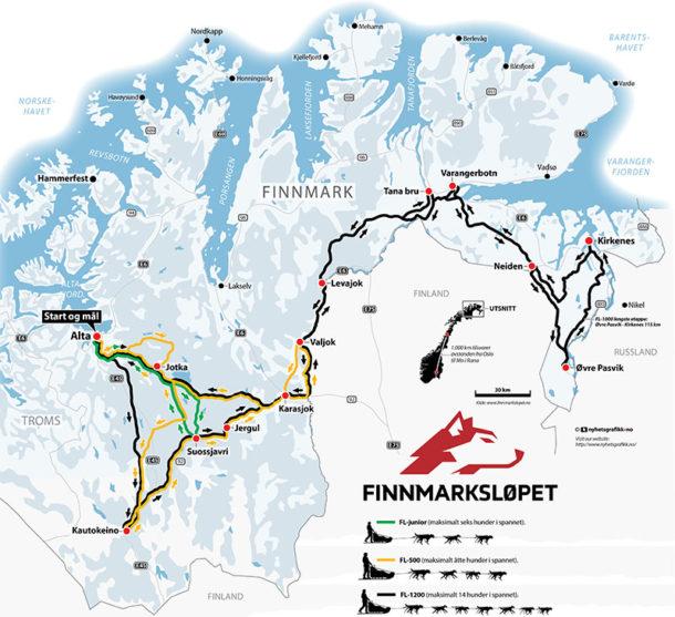 carte-parcours-courses-chien-traineau-finnmarkslopet-laponie-suede