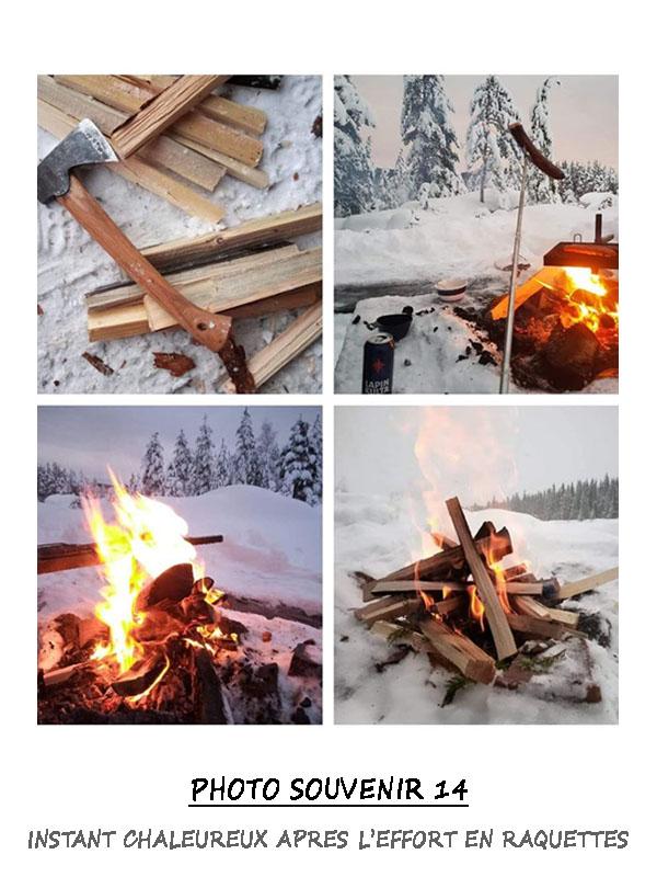 Après l'effort en raquettes à neige, instant chaleureux auprès du feu
