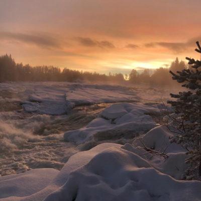 Un hiver en Suède, balade à Storforsen au coucher de soleil