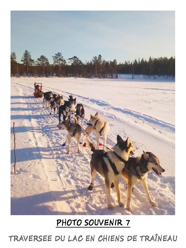 Traversée du lac de Dajom en chien de traîneau, la magie de la Laponie