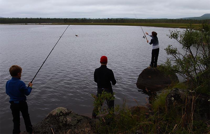 peche au bord du lac en laponie suedoise